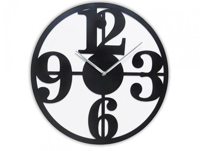6153 1 nastenne kovove hodiny cifry tiche 30cm cerne