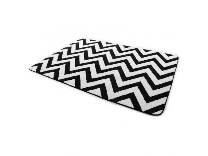 Plyšový kusový koberec 3D zig zag černo bílý (Rozměr 200x300cm)