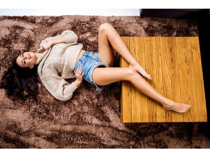 Plyšový kusový koberec mocca (Rozměr 160x230cm)