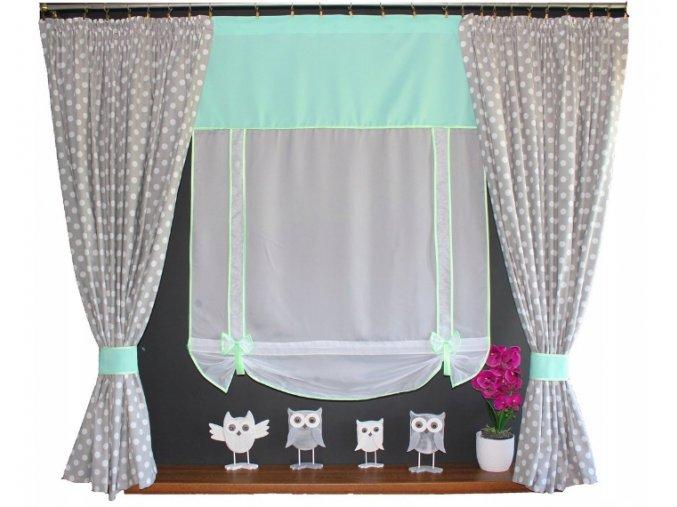 Detská hotová záclona Sovička 150x100x150cm rôzne farby