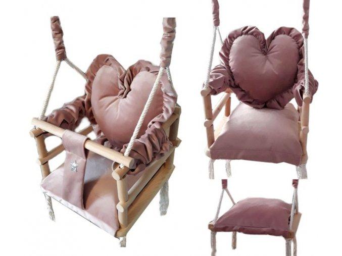 Plyšová hojdačka 3v1 srdce ružová 34x34x34cm od 9 mesiacov do 30kg