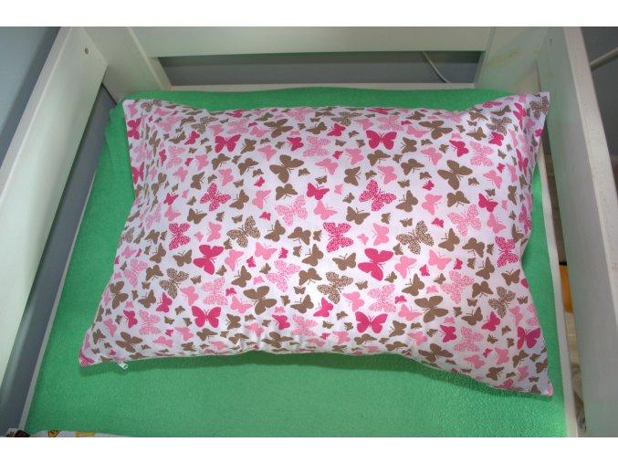 Bavlnený povlak na vankúš motýle hnedí a růžoví 60x40cm biely
