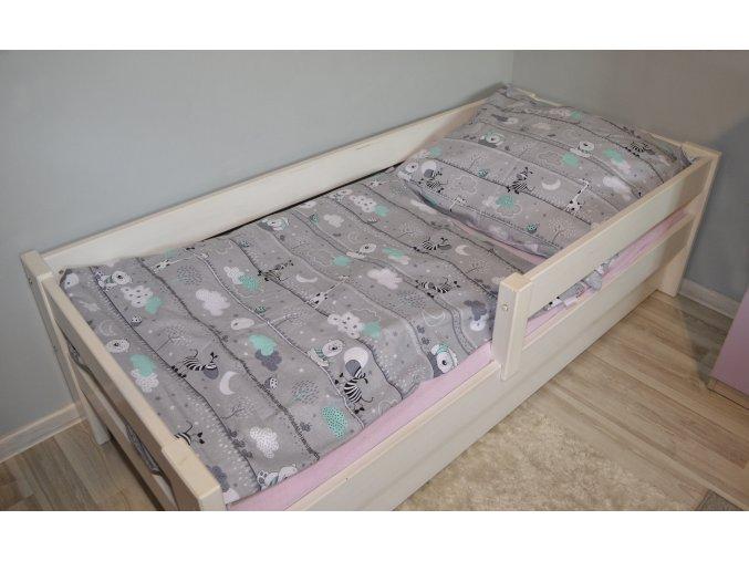 Bavlnené obliečky zvieratka 140x200cm / 70x80cm sivé