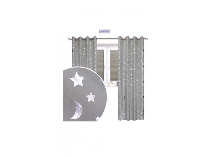 Hotové závesy s potlačou mesiačikov a hviezd ľan 145x250cm rôzne farby
