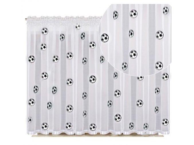 Detská hotová voálová záclona lopty 150x300cm biela
