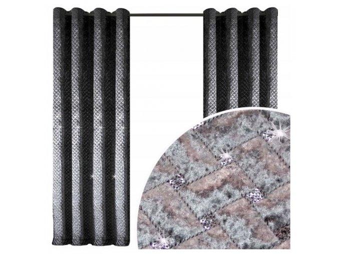 Zatemňovacia hotový velúrový záves 150x250cm strieborno-sivý
