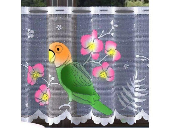 Oriešky žakárová záclona biela 150cm, metráž