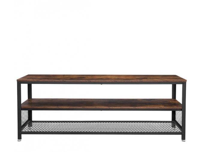 Industriálny televízny stolík 140x40x52 cm rustikálne hnedá