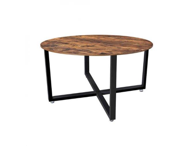 Okrúhly konferenčný stolík 88x88x47 cm rustikálna hnedá