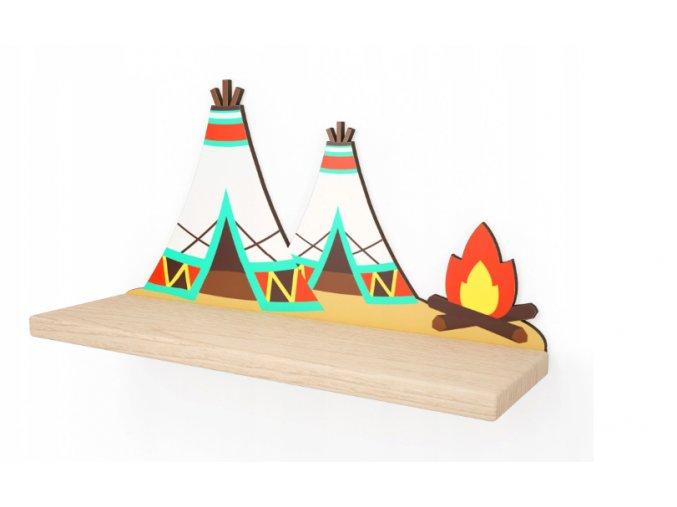 Nástenná drevená polička típí 40cmx23cmx11,5cm farebná