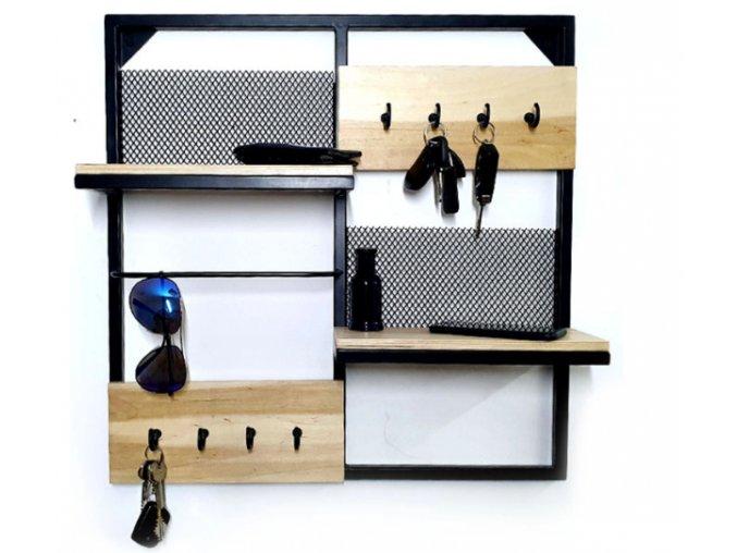 Dřevěná nástěnná polička organizér 13.5x55.5x55.5cm černé háčky (2)
