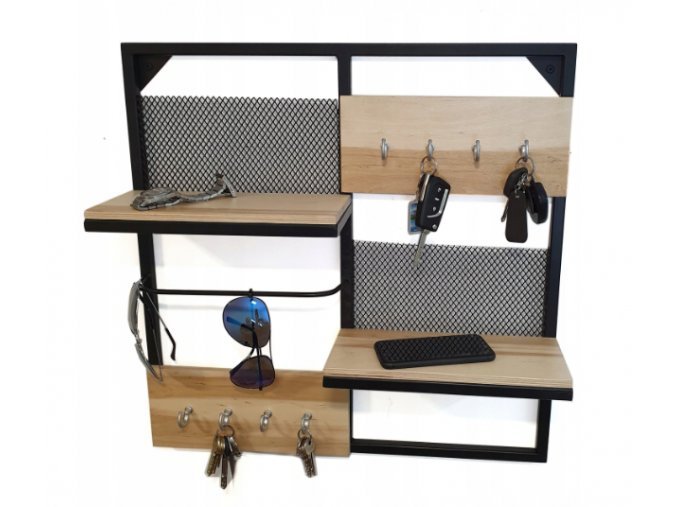Dřevěná nástěnná polička organizér 13.5x55.5x55.5cm stříbrné háčky (2)