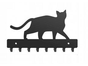 Nástěnný kovový věšák na klíče kočka 20x13x3cm černý (1)