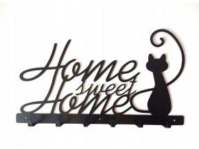 Nástěnný kovový věšák Home sweet home 40x28x3cm černý (1)