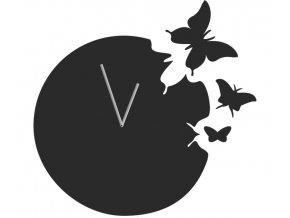 Nástěnné kovové hodiny motýli 40cm černé (1)