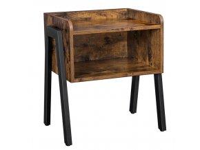 Noční stolek s úložným prostorem 42x35x52cm rustikální šedá