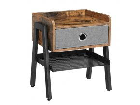 Industriální stolek s úložným prostorem 46x35x52.5cm rustikální hnědá