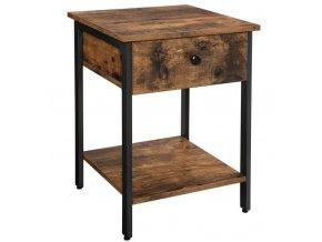 Dřevěný noční stolek se zásuvkou 40x40x55cm rustikální hnědá (1)