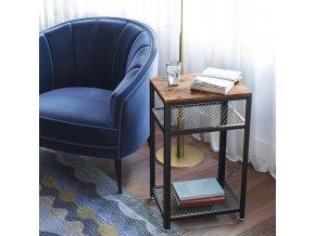 Rustikální 3stupňový stůl stoleček 45x35x75cm rustikální hnědá (1)