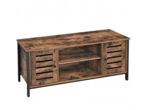 Televizní stůl s úložným prostorem 110x40x50cm rustikální hnědá (1)