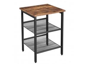 3stupňový noční stolek 40x40x55cm rustikální hnědá (1)