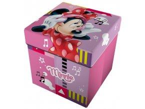 4656 detsky sedaci puf box na hracky 2v1 minnie mouse myska ruzovy 32x32x32cm