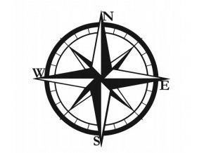 Kovová nástěnná dekorace větrná růžice kompas 3D 50cm černá (1)