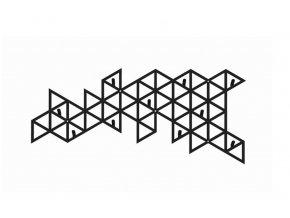 Kovový dekorativní věšák trojúhelníky 40x25cm černý