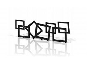 Kovový nástěnný věšák čtverce 60x25cm černý (1)
