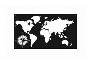 Kovová nástěnná dekorace obraz mapa světa 100x55cm černá (1)