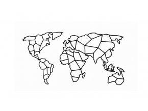 Kovová nástěnná dekorace obraz geometrická mapa světa 50x25cm černá (1)