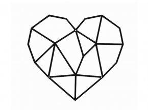 Kovové nástěnné geometrické srdce 25x20cm černé