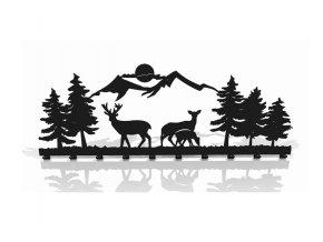 Kovový nástěnný věšák les hory 60x22cm černý (1)