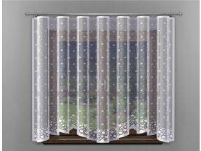 Hotová žakárová záclona zima 300x150cm biela