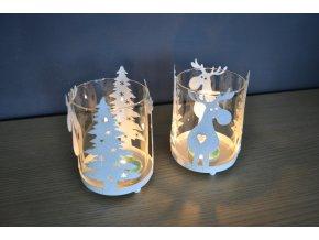 Plechový vianočný svietnik soby a stromčeky 10x8,5cm biely