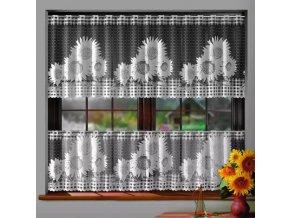 Slnečnica žakárová záclona biela, metráž výška 40 cm