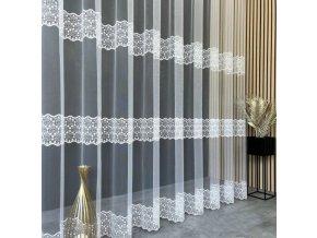 Sandy žakárová záclona biela, metráž výška 280 cm