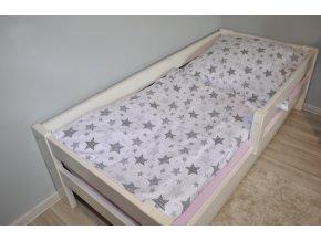 Bavlnené obliečky hviezdičky ružovo mätové 140x200cm / 70x80cm v bielej