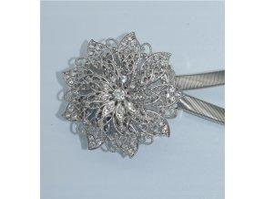 Luxusné magnetická glamour spona na záclony / závesy s kryštálmi 33cm strieborná