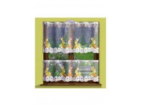 Metrážová žakárová veľkonočná záclona zajačiky, výška 50cm, biela