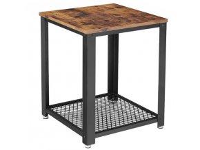 Štvorcový stolík 45x45x55 cm rustikálna hnedá