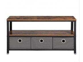 Televízny stolík s textilnými zásuvkami 100x40x51.5 cm rustikálne hnedá