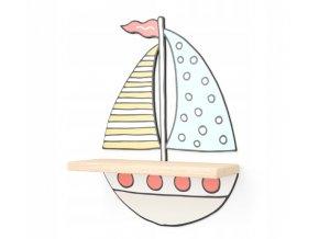 Nástenná drevená polička loďka 44,5cmx31,5cmx11,5cm farebná