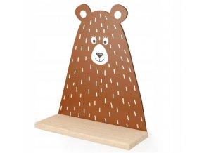 Nástenná drevená polička medveď 38cmx31,5cmx11,5cm hnedá