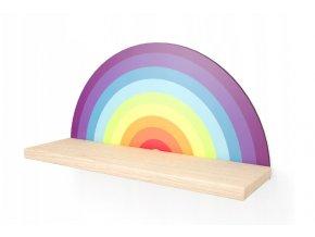 Nástenná drevená polička dúha 40cmx20cmx11,5cm farebná