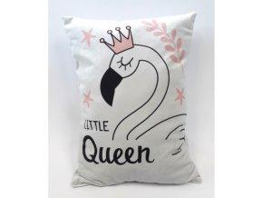 Dekorační polštářek Little queen 31x45cm bílý