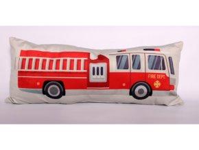 Dekorační polštářek Hasičské auto 65x25cm bílý