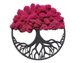 Obraz strom s mechem 40cm fuchsiový (2)