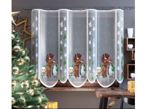 Žakárová vánoční záclona sobík 300x150cm bílá