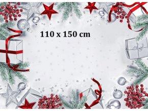 Bavlněný ubrus běhoun 100% Merry Christmas 40x100cm šedý